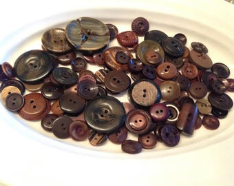 Two Hole Buttons - 100 assorted dark brown 2 hole buttons