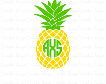 Pineapple Monogram Svg, Pineapple Svg, Pineapple, Circle  Monogram Frame, Svg Files, Cricut, Silhouette