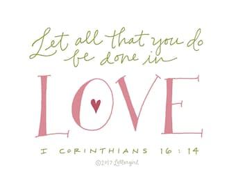Love Poster: PDF, Digital Download, Handwritten, Scripture