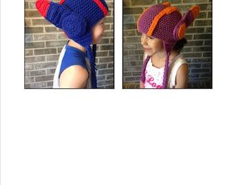 Hiro Hamada & Honey Lemon, Big Hero 6, crochet hat **PATTERN ONLY**, 2-in-1