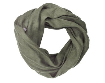 Soft linen scarf women, Moss green scarf, Linen scarf for woman, Infinity scarf, Linen women's scarves, Natural scarf, Linen womens clothing
