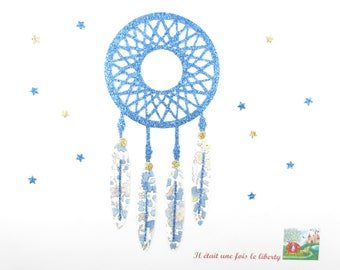 Applied fusible dream catcher (dreamcatcher) or catch nightmares Anjo fabric and blue liberty fabric glitter.