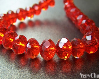One Strand (72 pcs) Red Faceted Rondelle Crystal Glass Abacus Beads 7x10mm A3920