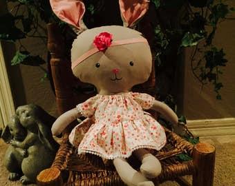 Handmade Fabric Girl Bunny