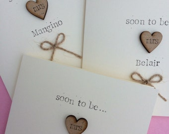 Personalised Bride to be card, Bridal Shower Card *HANDMADE*