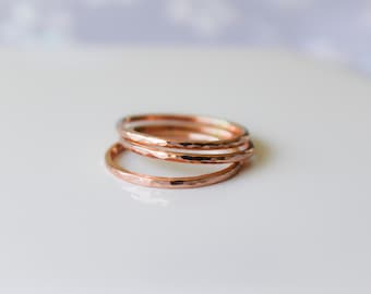 Rose Gold Rings,  THIN 14k Gold Filled Stacking 3 Ring Set, Stacking Rings, Minimalist Jewelry, Hammered Rings, Etsy Gift, Boho Jewelry