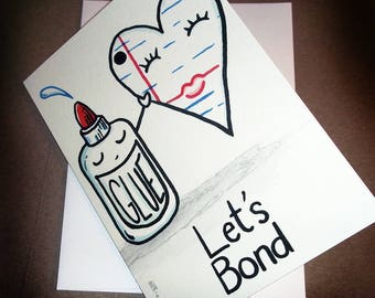 Let's Bond Cute Romantic Love Card Stuck to you like Glue and Paper  5x7 Greeting Card Blank inside by Agorables Valentine's Day