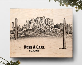 Cutting Board, Cactus Plant Custom Wedding Board, Cacti Board, Southwestern Decor, Desert Cactus Wall Decor, Personalized Cutting Board