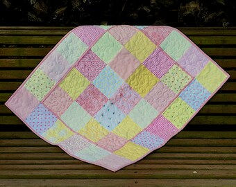 Pretty in Pink baby girl quilt with Minky back and yellow accents