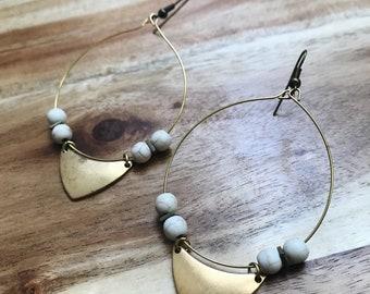 Large Statement Earrings + Howlite Stones + Nickel Free + Tarnish Resistant Brass + Handmade Jewelry + Boho Jewelry