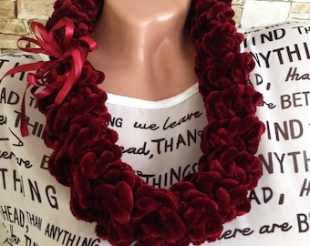 Burgundy bib necklace Crochet chunky necklace scarf Statement necklace Bohemian knot necklace Statement tribal necklace scarf Gift for her