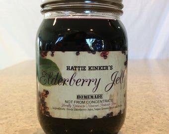 Hattie Kinker's Homemade Elderberry Jelly Half Dozen 12 Ounce Jars (6 pack)