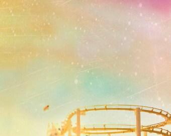 Roller Coaster, Yellow, Pink, Nursery Art Print, Carnival, Circus, Baby Neutral Nursery Decor, Amusement Park