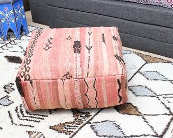 MOROCCAN KILIM POUF Pouffe Extra Large Floor Cushion Pillow Cover Handmade Handwoven 60 cm x 60 cm x 25 cm  / 25.6''x 25.6''x 10'' (KP15)