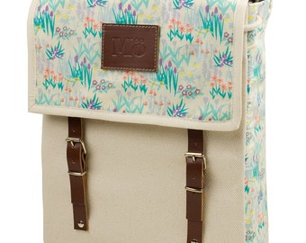 Lily Meadow Backpack, Canvas and Leather Print Backpack, Mediterranean Inspired, Delicate lillies, Flower Printed Bag, Women's Backpack