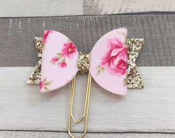 Pink floral bow paperclip, Glitter bow planner clip, paperclip, bow paperclip, bow print paperclip