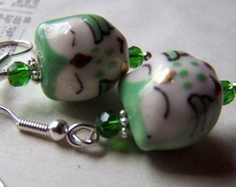 Green Owl Earrings Owl Jewelry St Patricks Day Little Green Owls Sleeping Porcelain Holiday Jewelry Lucky Charm Shamrock