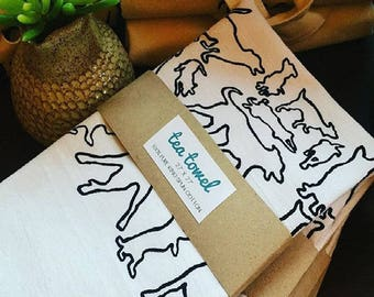 Screen Printed Cotton Tea Towel - Hand Made - 100% Cotton
