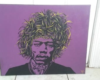 Jimi Hendrix 16x20 Inch Acrylic Painting On Canvas in Plum, Yellow and Black