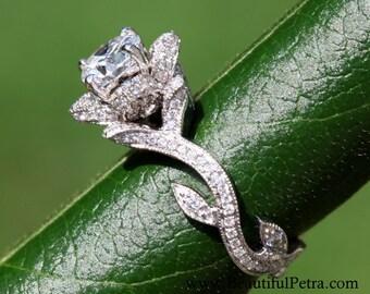 BLOOMING Work Of Art - Platinum Flower Rose Lotus Diamond Engagement or Right Hand Ring - Milgrain - Beauty - Flower - Vine - leaves - fL07