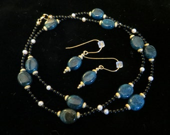 Blue apatite and pearl necklace and earrings set.