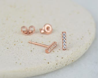 8mm Geometric CZ Gemstone Bar Stud Earrings - Sterling Silver 925, Rose Gold Overlay.