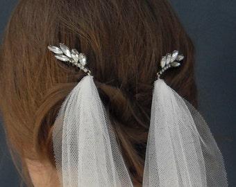 Wedding veil - Vintage style Leaf shaped glass bead hair combs with detachable veil.  Pelican Rose wedding veil - 'Hampshire' Veil