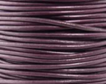 1mm Round Leather Cord Metallic Berry Purple 2 yards 1.83m