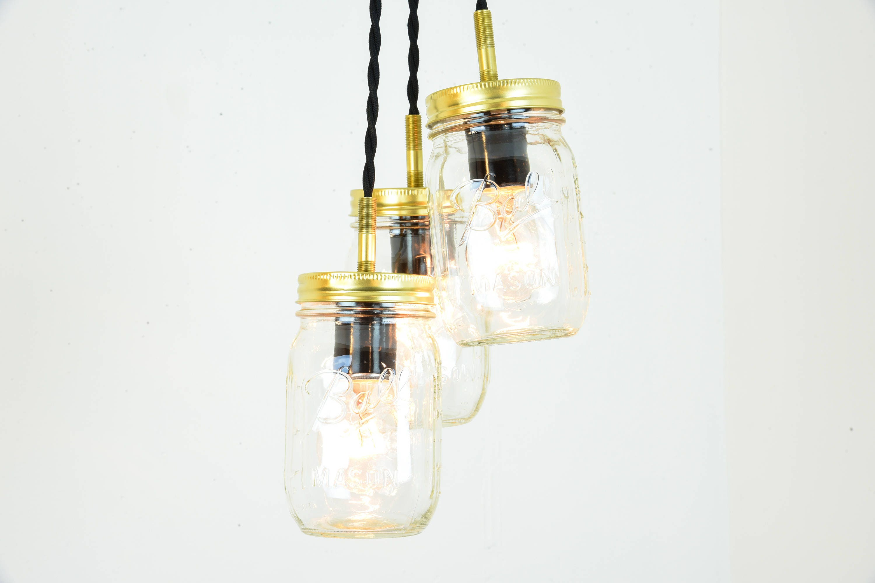 Mason Jar Chandelier - Mason Jar Light - Pendant Lights - Jar Cluster Fixture - Modern Pendant Light - Gold Light Fixture - Hanging L& & Mason Jar Chandelier - Mason Jar Light - Pendant Lights - Jar ...