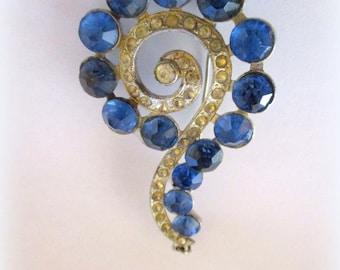 Lg 1930s Blue Stones Paisley Brooch Necklace Large vintage