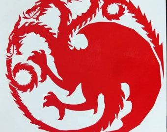 Memorial Day Sale! Game of Thrones House Targaryen Sigil Vinyl Decal for Car or Home