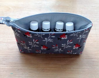 Essential oils case / essential oils bag / essential oils pouch / case for 10 oils / 5ml and 15ml oils storage / gray essential oils bag