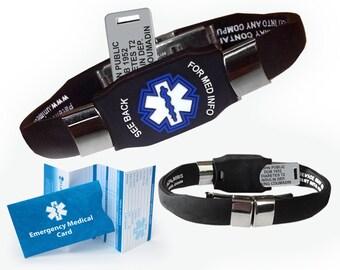 Waterproof Elite Medical Alert Bracelet with Acrylic Engraving Plate – Choose your color. Includes Custom Engraving.