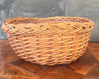 Large Round Basket Planter, Wicker Rattan Basket with Liner, Houseplants, Boho Decor, Jungalow, Plant Holder