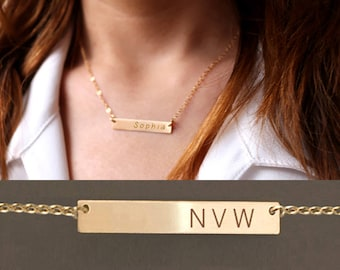 Custom bar Necklace, Personalized Bar Necklace Engraved, Christmas Gift, New year gift , Graduation gift, 14K Gold filled bar Necklace.