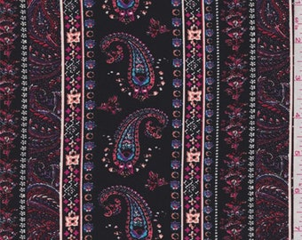 Black Multi Paisley Wallpaper Stripe Georgette, Fabric By The Yard