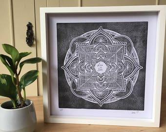 Love is love - framed linocut print