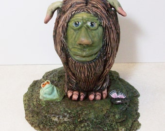 Hairy Troy with frog and butterflies, polymer clay hand sculpted figurine