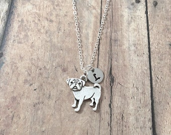 Pug initial necklace - pug jewelry, dog breed necklace, pug dog necklace, dog breed jewelry, silver pug pendant, pug necklace