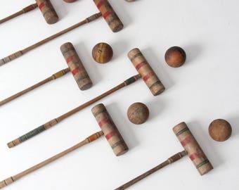 vintage croquet set, wood lawn game