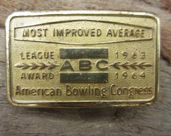 1963 1964 American Bowling Congress Belt Buckle // Vintage 60s Award Buckle // Rockabilly Buckle