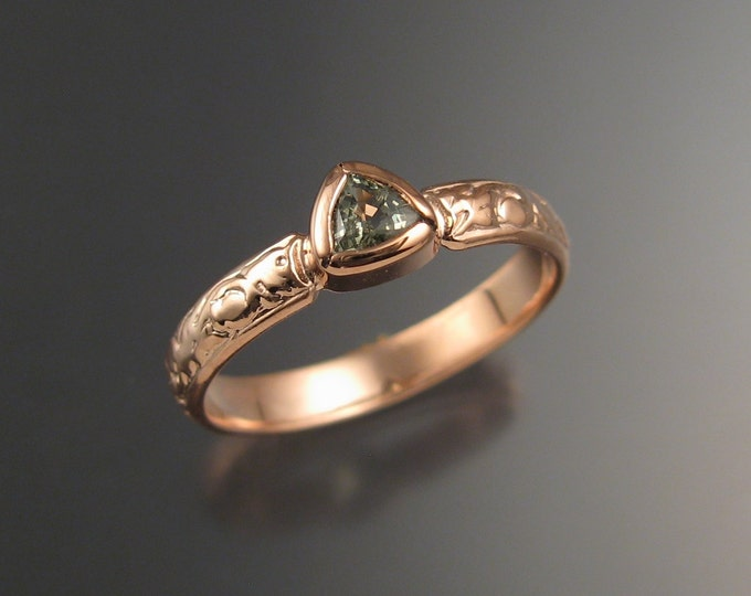 Green Sapphire Triangle Wedding ring 14k Rose Gold Victorian bezel set ring made to order in your size