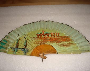 Vintage Hand Painted Rice Paper And Wood Hand Held Fan