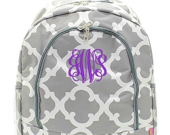 Monogrammed Backpack Personalized Moroccan Gray Backpack Personalized Backpack Kids Backpack Girls Backpack Boys Backpack
