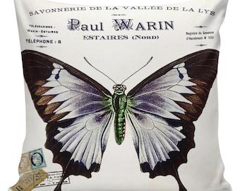 Antique Easter Document Burlap Cotton Spring Butterfly Throw Pillow Cover SP-89 Elliott Heath Designs