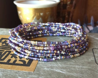 Amethyst Long Seed Bead Stretch Bracelet, Necklace, February Birthstone Colors