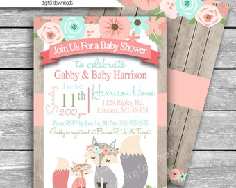 5x7 Customized Baby Shower Invitation Digital Download - Mint Coral Fox Eva Floral Woodland - Aqua Peach Pink Printable JPG