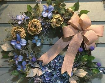 BLUES & GREENS /COTTAGE Wreath
