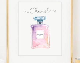 Chanel Perfume Art Print. Water Color Print. Typographic Art. Inspirational Art. Wall Art. Fashionista Art Print. Gift for Her.