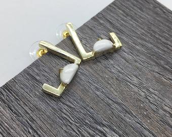 Geometric earrings, Asymmetric earrings, Square earrings, Minimalistic earrings, Set earrings, Stud earrings, Edgy earrings, Howlite earring